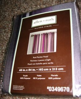 Allen Roth Allison Stripe Curtain Drapery Drape Panel 40x84 Purple