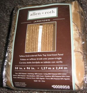 Allen Roth Jamestown Lined Curtain Drapery Drape Panel 50x96 Gold