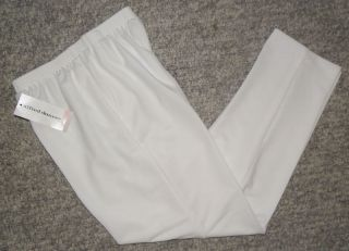 Alfred Dunner Womens White Elastic Waist Pants Size 8 10 Proportioned