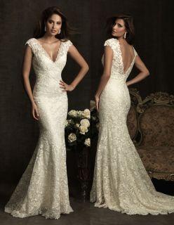 Allure Bridals Vintage Lace V Neck Wedding Dress