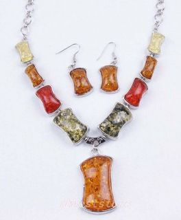 Plated Bone Shape Amber Necklace Earrings Jewelry Set BF A1131