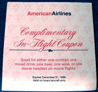 Vintage 1988 American Airlines in Flight Coupon Great Airline