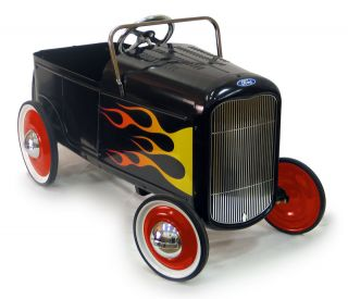 Ford Roadster Retro Pedal Car Black Hot Rod Kids Ride On Toy NEW
