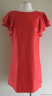 Ali Ro Red Flutter Sleeve Organza Shift Dress Sz 2 XS Mint