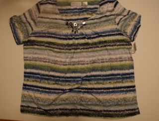 Alfred Dunner shirt Plus Size 2X Green Blue White Stripes NWT