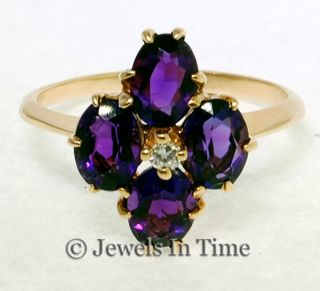 Ladies 14k Yellow Gold Diamond Amethyst Ring 9 5