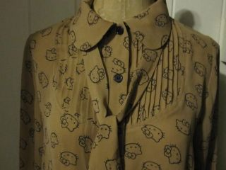 Hello Kitty x Forever 21 Brown Button Down Shirt with Skinny Scarf Sz