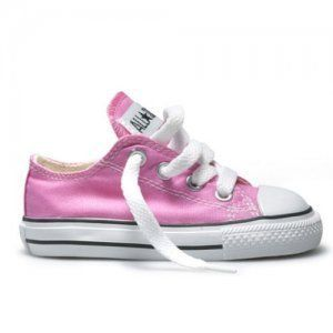 Infants Toddler Converse All Star Ox Pink Canvas Trainers Size
