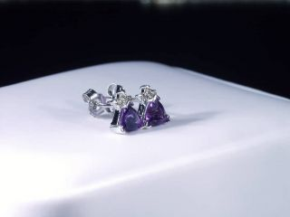 14K WHITE GOLD ZAMBIAN AMETHYST & DIAMOND EARRINGS TRILLIANT CUT