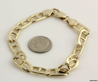 25 7 7mm Anchor Chain Bracelet 14k Solid Yellow Gold Polished Italy