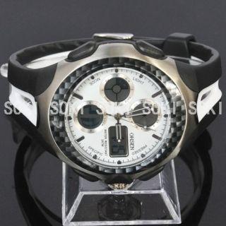 New Sport Analog Digital White Day Date Quartz Mens Wrist Watch S050