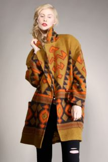 NATIVE AMERICAN BLANKET COAT Vtg Trade Southwest Wool Indian Pendleton