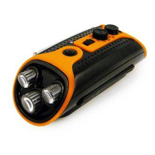 in 1 Emergency Hand Crank LED Flashlight Am FM Radio