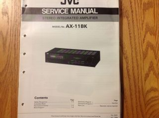 Service Manual for JVC Stereo Integrated Amplifier AX11BK