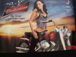Amanda Beard Sexy Biker Beer Poster on Harley Davidson