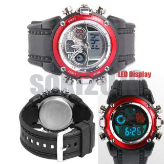 RED LED Analog Digital Womens Ladies Sport Diving Gift Quartz Watch 19