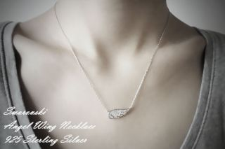 SWAROVSKI WHITE GOLD ANGEL WING NECKLACE SILVER ANGEL WING JEWELRY
