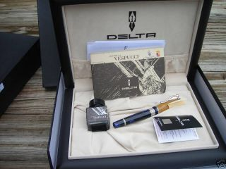 DELTA AMERIGO VESPUCCI FOUNTAIN PEN BLUE LTD EDITION FINE NIB
