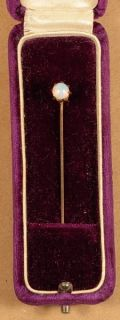 Vintage Gold Stick Pin Opal Amery Wi Purple Velvet Box