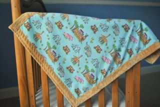 Animal Print Baby Boy Blanket Quilt Fabric Minky Fleece