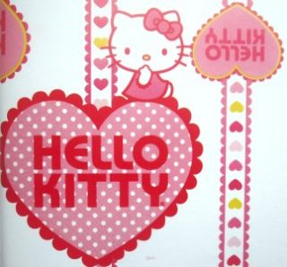 HELLO KITTY * Valentines crown heart gift wrap paper 16 sheets PARTY