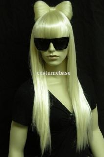 Deluxe Full Wig Bow Glasses Lady Blonde Long Hair gaga brand FREE