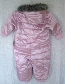 New Hanna Andersson Girls Warm Pink Satin w Faux Fur Snowsuit 80 12 18