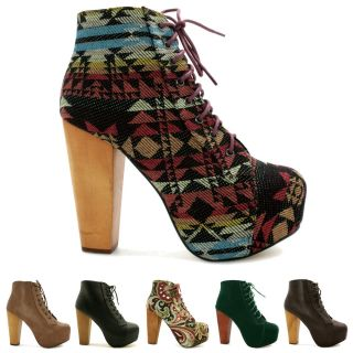 Lace Up Wooden Block Heel Concealed Platform Ankle Boots Size
