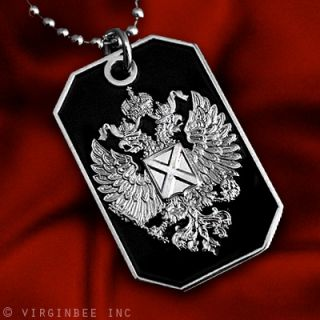 RUSSIAN IMPERIAL EAGLE ST.ANDREW CROSS FLAG PENDANT DOG TAG BALL CHAIN