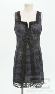 Anna Sui for Target Navy Blue Shimmer & Black Bow V Neck Dress Size 11