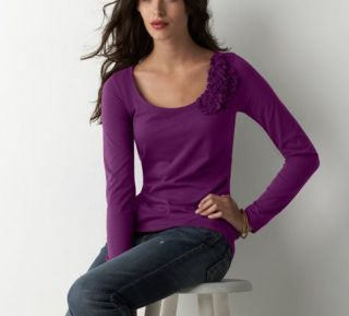 Ann Taylor Loft Royal Purple Self Fabric Corsage Soft Cotton Jersey