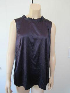 Ann Taylor *SILK* Purple Raffle Neck Woman Top Blouse Size L