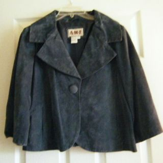 Lovely Ami Womens Suede Leather Jacket Swing Smock Style Blue Size