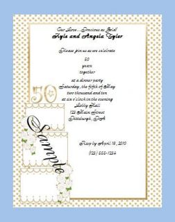 Personalized Custom Golden 50th Anniversary Wedding Invitations