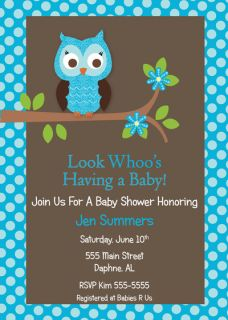 Owl Boy Baby Shower Invitation Birthday Anniversary Invites