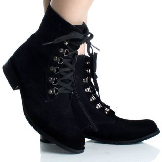 Black Lace Up Ankle Boots Work Combat Hiking Flat Steam Punk Womens