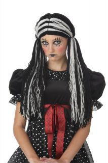Tragedy Ann Rag Doll Halloween Costume Wig Black White