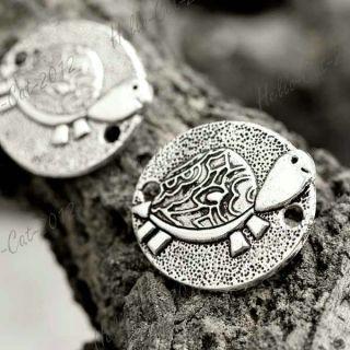 25 Tibet Tibetan Silver Oval Animal Turtle Connector Links 25x22x2mm