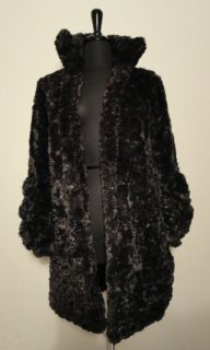 Anna Sui Deep Purple Faux Fur Coat Size 2