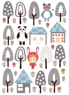 panda forest tree house removable wall stickers nursery from australia