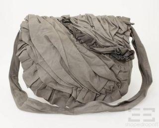 Anne Valerie Hash Grey Pleated Ruffle Leather Crossbody Bag NEW