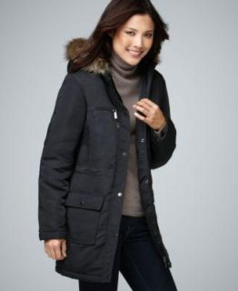 Style Co Anorak Jacket Black Coat Faux Fur Trim Coat Zip Upper Pocket