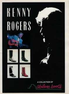 kenny rogers abilene boots 1993 magazine print ad g