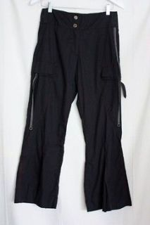 Deca Paris Designer Flared Crop Black Pants Size 3/32 Waist Pantalon