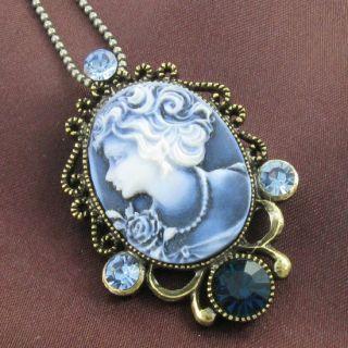 antique design blue cameo pendant necklace for brooch pin cameo blue