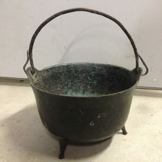 Antique Large Cast Iron Fireplace Hanging Kettle Hand Forged Handle