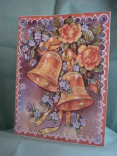 Handmade Greeting Card Gold Anniversary Bells Roses