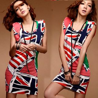 Americal Flag Print Padded Shoulder Union Jack Women Party Dress 4626