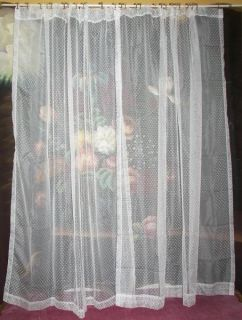 VINTAGE VICTORIAN NET SWISS DOT FLOCK SHEER LACE DRAPES CURTAINS PAIR
