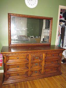 1960s Vintage Antique Solid Wood Oak Armoire Dresser Night Stand Set